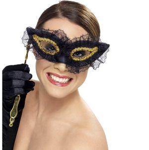 Masquerade Ball Fastidious Eye Mask - Black/Gold