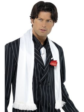 Gangster Fancy Dress - 20s Gangster Scarf with Tassles - White