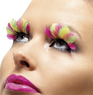 Ladies Fancy Dress Feather False Eyelashes - Multi
