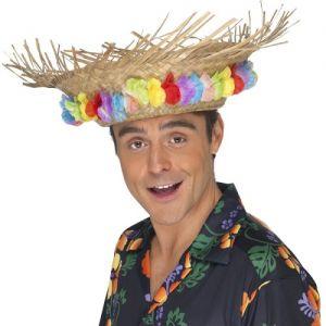 Hawaiian Fancy Dress Straw Beach Hat with Flower Band