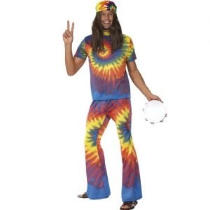 60s Groovy Tie Dye Hippy Man Fancy Dress Costume