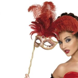 Masquerade Ball Baroque Fantasy Mask - Red