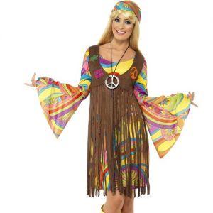 Ladies 60s Groovy Lady Hippy Fancy Dress Costume - S, M, L & XL