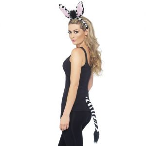 Zebra Instant Fancy Dress Set - Ears on band & Tail