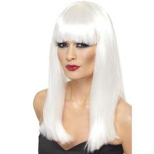 80's Fancy Dress Glamourama Wig with Fringe - White