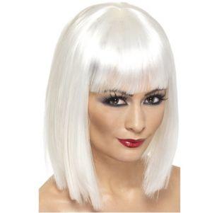 80's Fancy Dress Glam Wig with Fringe - White