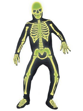 Halloween Glow in Dark Skeleton Bones Costume - M & L