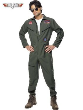 Mens Fancy Dress - Officially Licensed Top Gun Costume - M