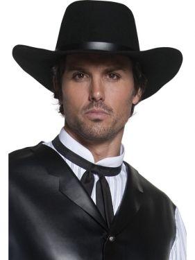 Cowboy Fancy Dress - Authentic Gunslinger Hat - Black