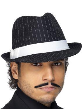 Mens Gangster Mens Trilby Hat - Black/White