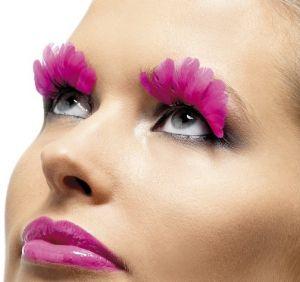 Ladies Fancy Dress Feather False Eyelashes - Pink