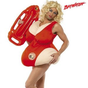 Mens Baywatch Fat Lifeguard Fancy Dress Costume - 38-42""