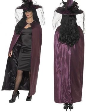 Halloween Deluxe Reversible Witch Cape - Black/Purple