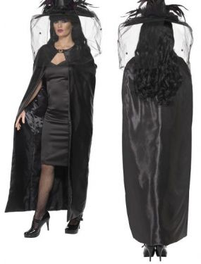 Halloween Deluxe Fabric Long Witch Cape - Black