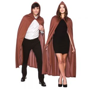Adult Long Hooded Cape - Brown