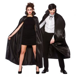 Adult Deluxe Satin Vampire Cape with Collar - Black