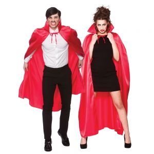 Adult Deluxe Satin Vampire Cape with Collar - Red
