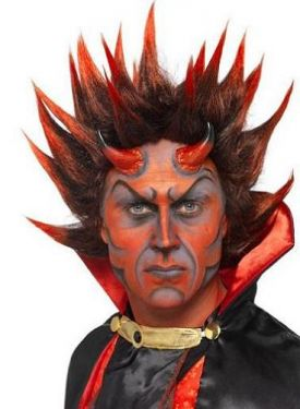 Halloween Fancy Dress Punky Spikes Devil Wig  - Black/Red