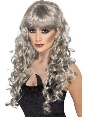Halloween Fancy Dress Wig Siren - Silver