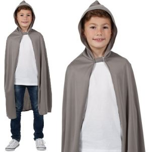 Childrens Hooded Fabric Cape - Grey