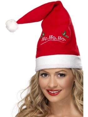 Christmas Fancy Dress - Santa Hat with Ho Ho Ho Detail