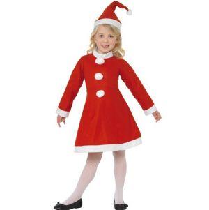 Christmas Fancy Dress - Childrens Value Miss Santa Costume - S, M or L