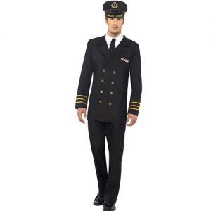 Mens Navy Officer Fancy Dress Costume