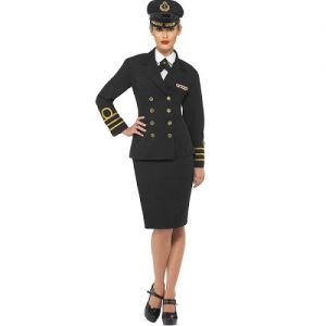 Navy Officer Lady Fancy Dress Costume - Black - S, M, L or XL