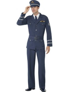 Mens 40s Airforce Captain Fancy Dress Costume