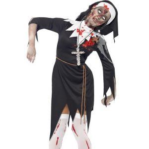 Ladies Zombie Sister Bloody Mary Nun Costume