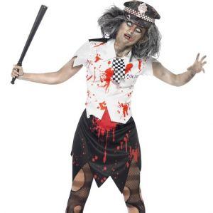 Halloween Fancy Dress Zombie Policewoman Costume