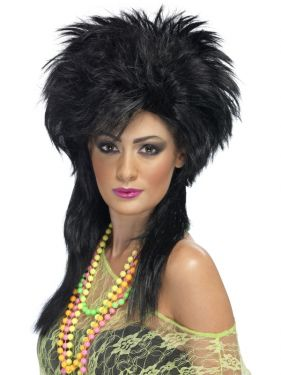 80's Fancy Dress Groovy Punk Wig - Black