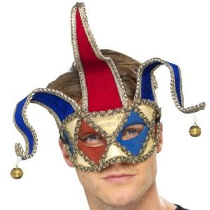 Mens Masquerade Ball Venetian Musical Jester Mask