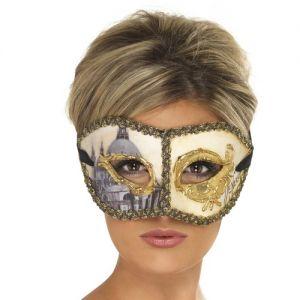Masquerade Ball Venetian Colombina Venice Eye Mask - Cream/Gold