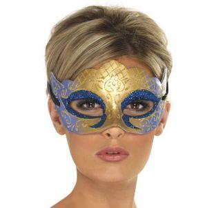 Masquerade Ball Venetian Colombina Farfalla Eye Mask - Gold/Blue