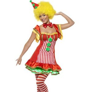 Ladies Boo Boo Clown Lady Fancy Dress Costume - S, M or L