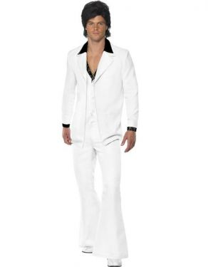 70s Fancy Dress White Night Fever Suit Costume