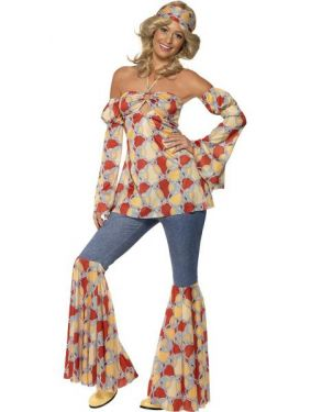 60s 70s Fancy Dress Vintage Hippy Lady Costume