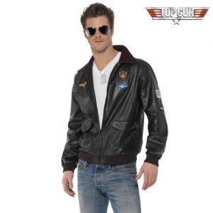 1980s Mens Official Licensed Top Gun Fancy Dress Jacket
