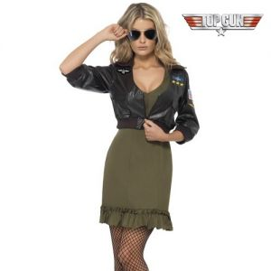 1980s Sexy Top Gun Dress & Bomber Jacket Fancy Dress Costume