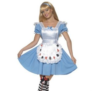 Ladies Deck of Cards Alice Fancy Dress Costume - Blue/White