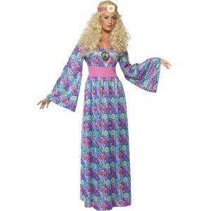 Flower Child Hippy Lady Fancy Dress Costume - Multi Print