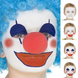 Smiffys FX Clown or Flag Face Paint Make Up - 3 Colours