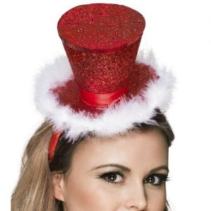 Christmas Mini Top Hat on Band - Red/White