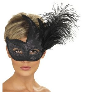 Masquerade Ball Ornate Colombina Flame Mask with Feather - Black