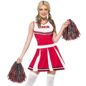 1980s Ladies Cheerleader Fancy Dress Costume - XS, S &  M