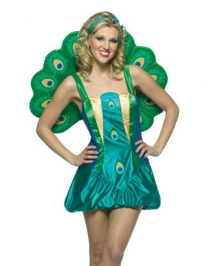 Ladies Fancy Dress - Lightweight Peacock Costume - One Size