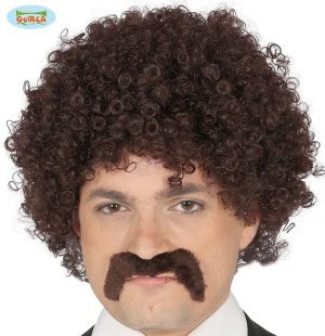 Brown Curly Wig & Moustache