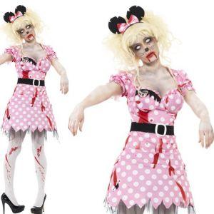 Ladies Halloween Zombie Miss Mouse Costume