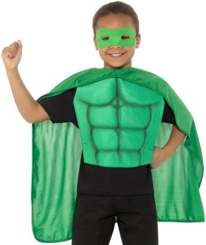 Childs Superhero Cape & Chest Kit - Green